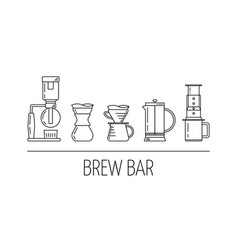 Brew bar set of black linear icons about vector