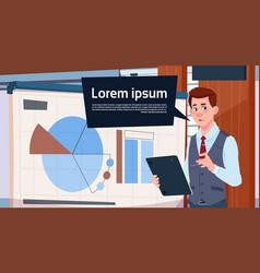 Businessman holding presentation stand over board vector