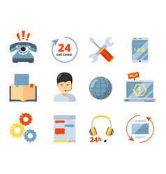 call center icon service 24h support help office vector image