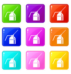 can of spray paint set 9 vector image