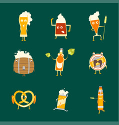 cartoon funny beer characters icons set vector image