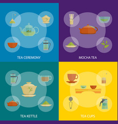 cartoon traditional culture tea ceremony banner vector image