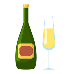champagne bottle with emblem and glass vector image