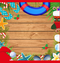 Christmas beach border with copy space vector