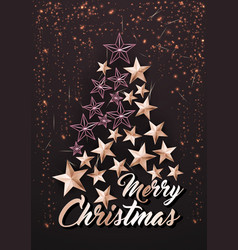 christmas poster or card template with stars tree vector image