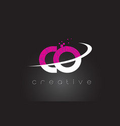 co c o creative letters design with white pink vector image