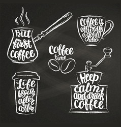coffee lettering in cup grinder pot chalk shapes vector image