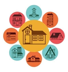 colorful pattern with houses logo design in vector image