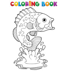 Coloring book freshwater fishes 2 vector