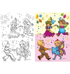 Coloring Book Of Children In Carnival Costumes vector image
