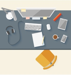 Concept of modern business workspace in flat vector