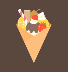 Crepes with topping of fruits vector