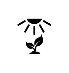 Crop growth young sprout under sun flat icon vector