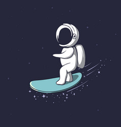 Cute astronaut rides on surfboard vector