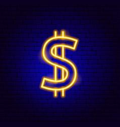 Dollar gold neon sign vector