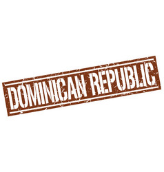 Dominican republic brown square stamp vector