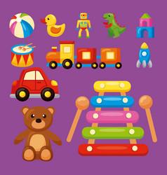 Eleven kids toys vector