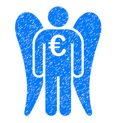 Euro angel investor icon grunge watermark vector