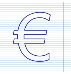 euro sign navy line icon on notebook vector image