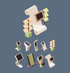 exhibition shelves advertising stands desks vector image