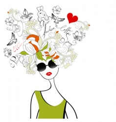 fashion girl with original hair vector image