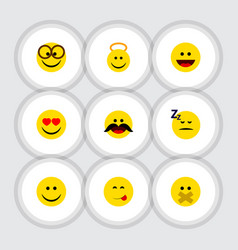 Flat icon expression set of laugh hush joy and vector