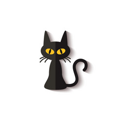 flat icon spooky black cat with realistic vector image