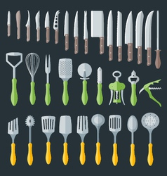 flat kitchenware cutlery tools set vector image