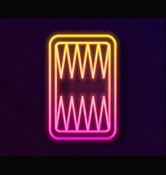 Glowing neon line backgammon board icon isolated vector