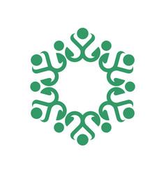 Green ornamental flower or star logo template vector