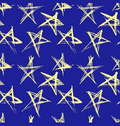 hand drawn grunge stars seamless pattern modern vector image