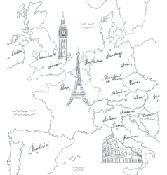 Hand drawn tourist map with sights of Europe vector