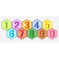 Hexagon colorful numbers set vector image