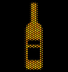 Hexagon halftone wine bottle icon vector