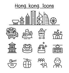Hong kong icon set in thin line style vector