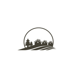 house pine tree villa logo vector image