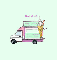 Ice cream truck hand drawn vector