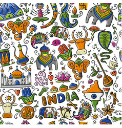 Indian lifestyle seamless pattern for your design vector
