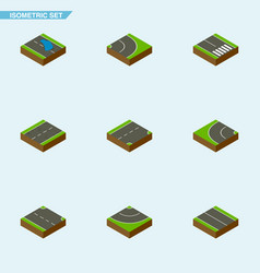 Isometric way set of way road flat and other vector