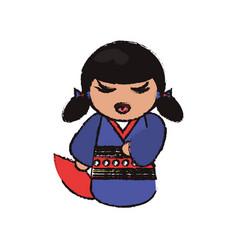 Kokeshi doll handmade decoration image vector