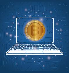 laptop with virtual coin bitcoin vector image