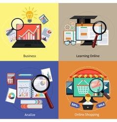 Learning online shopping analize and business vector image