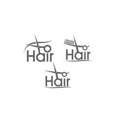 letter hair with scissor and comb set vector image