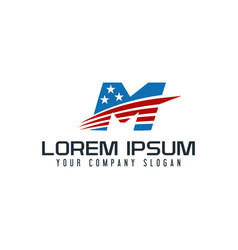 letter m america logo design concept template vector image