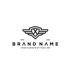 Letter x shield wing logo design concept vector