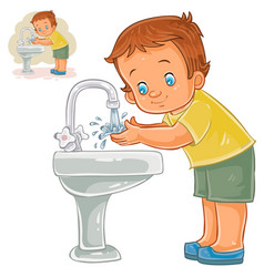 Little boy washes his hands with water from vector