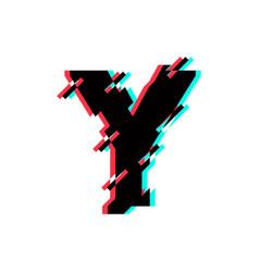 Logo letter y glitch distortion diagonal vector