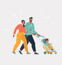 man and woman with bain stroller vector image
