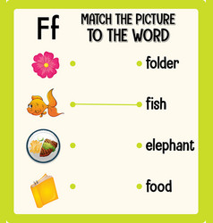 Match the picture to the word worksheet vector