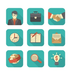 Modern Flat Business Icons Set vector image